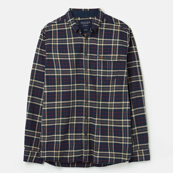 Joules Brown Beige Check Buchannan Long Sleeve Classic Fit Brushed Shirt