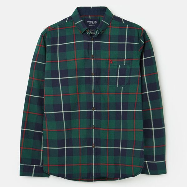 Joules Navy Multi Check Buchannan Classic Long Sleeve Classic Fit With Back Pleat Brushed Shirt