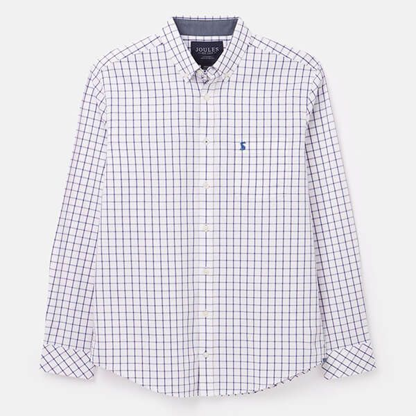 Joules White Pink Stripe Welford Classic Long Sleeve Classic Fit Check Shirt