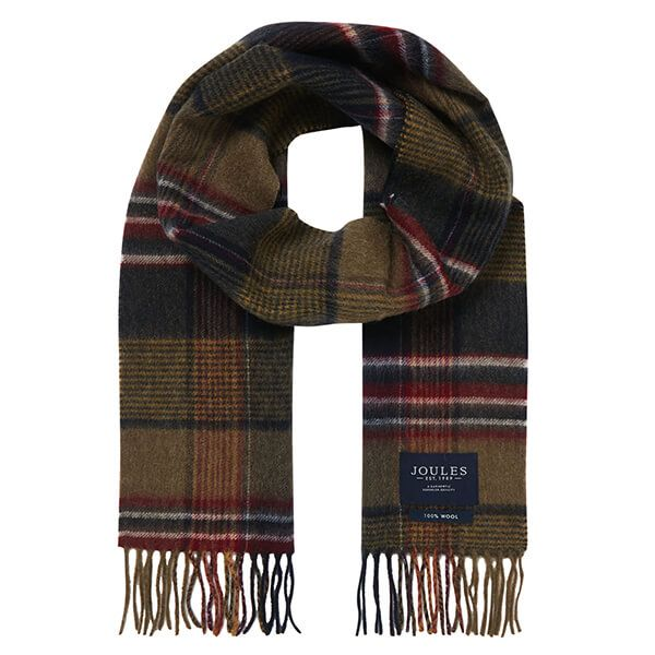 Joules Green Marl Check Tytherton Wool Checked Scarf