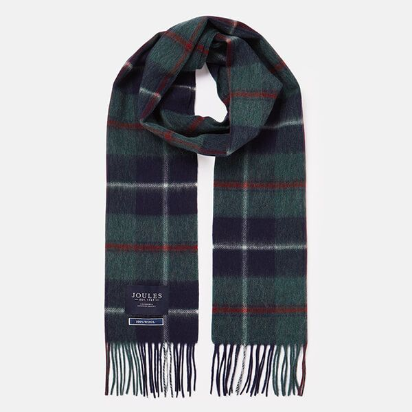 Joules Green Multi Check Tytherton Wool Checked Scarf
