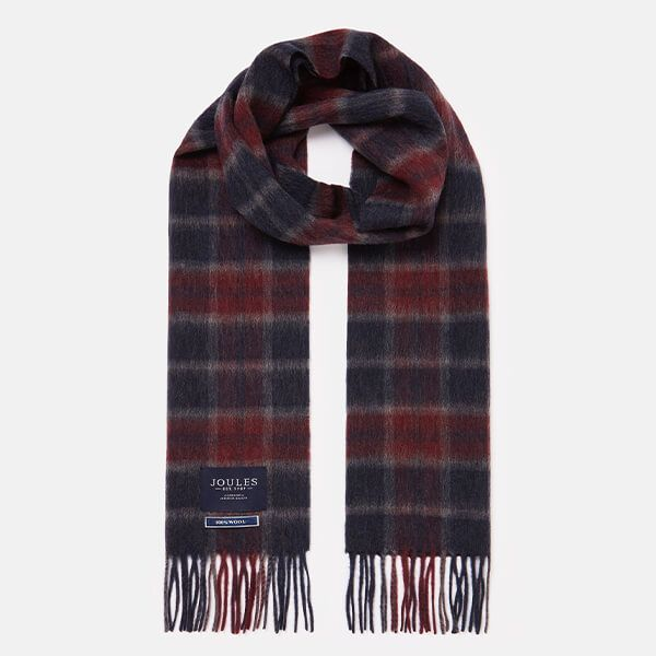 Joules Purple Marl Check Tytherton Wool Checked Scarf