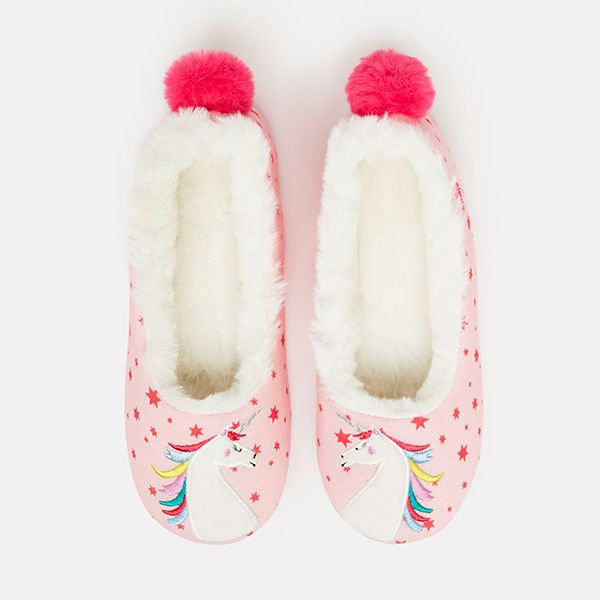 Joules Pink Unicorn Junior Dreama Padabout Slippers