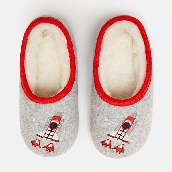 Joules Grey Rockets Junior Slippet Felt Mule Slippers