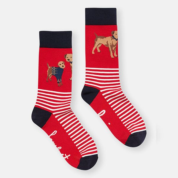Joules Red Dog Brilliant Bamboo Socks