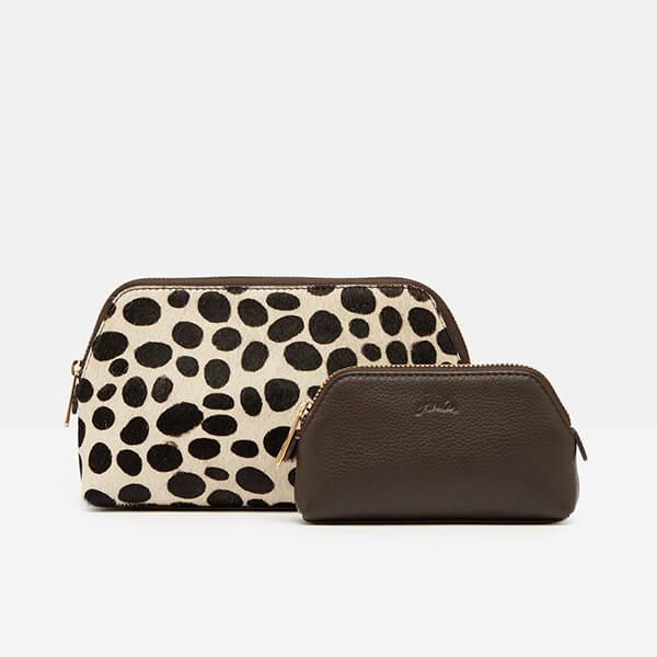 Joules Choco Peplow Leather Cosmetic Purse Gift Set