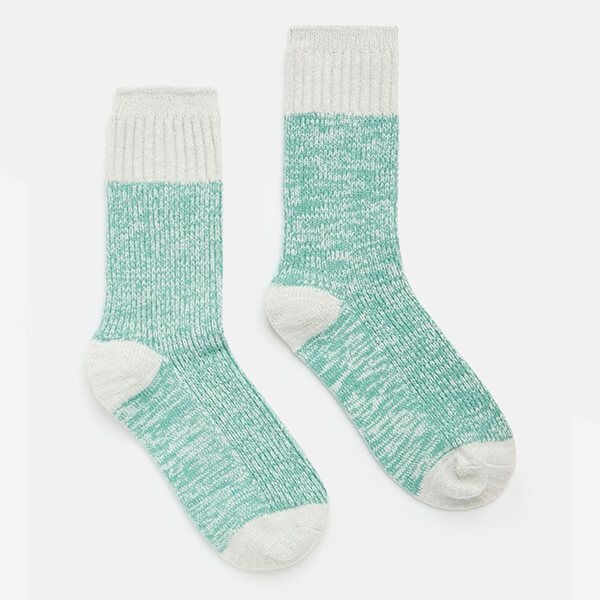 Joules Dusty Turquoise Short Trussel Knitted Socks Size 4-8
