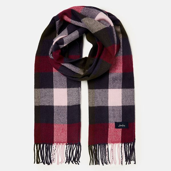 Joules Blue Pink Check Bracken Check Woven Scarf