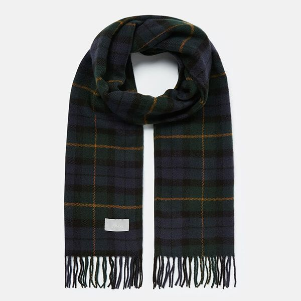 Joules Navy Green Check Bracken Check Woven Scarf