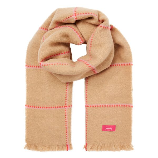 Joules Camel Pink Check Stamford Checked Scarf