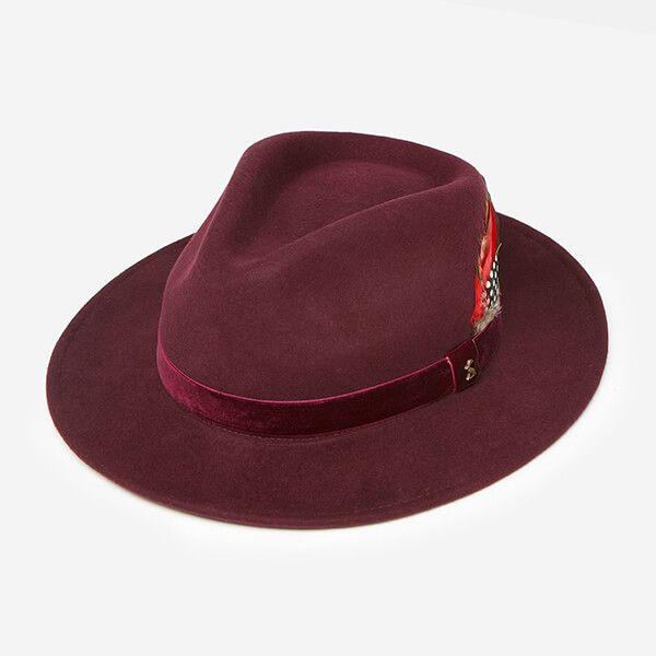 Joules Ox Blood Fedora Felt Hat