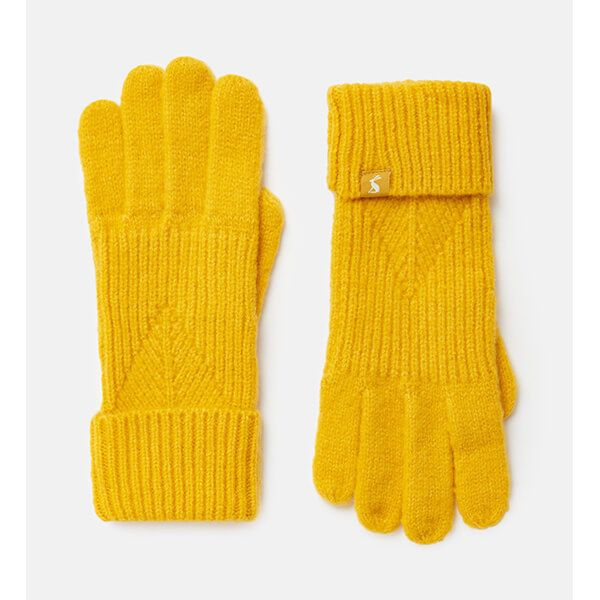 Joules Gold Thurley Knitted Gloves