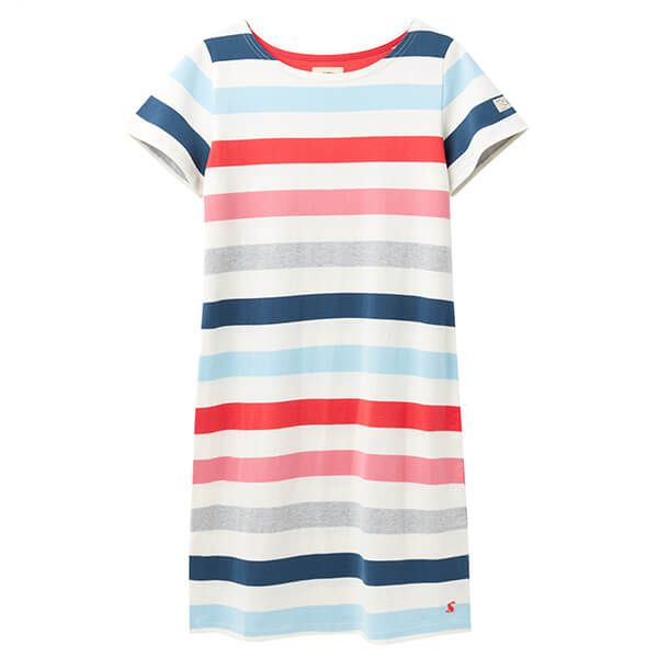Joules Cream Pink Stripe Riviera Printed Dress With Short Sleeves