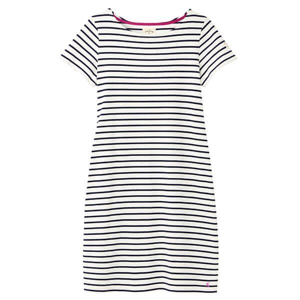 Joules Cream Stripe Riviera Long Short Sleeve Jersey Dress