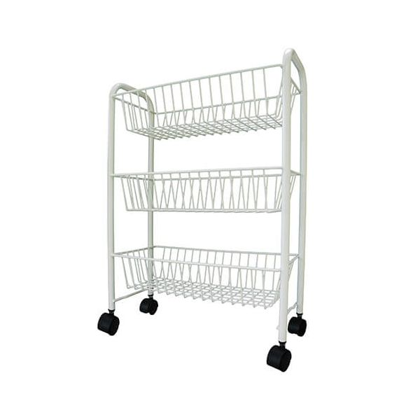 Delfinware Wireware Cream 3 Tier Mobile Trolley