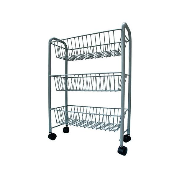 Delfinware Wireware Grey 3 Tier Mobile Trolley