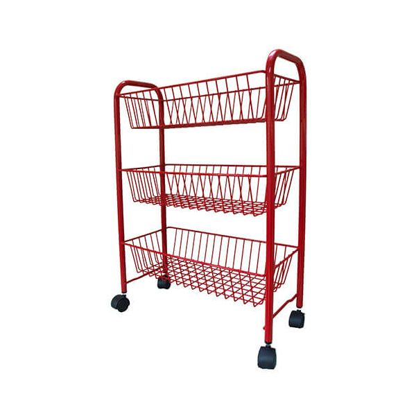 Delfinware Wireware Red 3 Tier Mobile Trolley