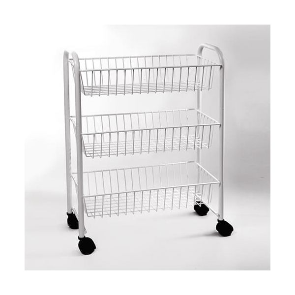 Delfinware Wireware White 3 Tier Mobile Trolley