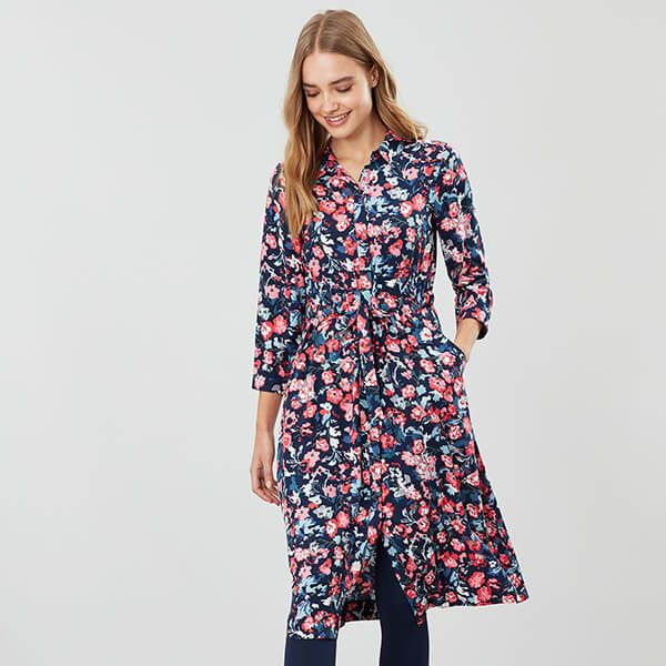 Joules Navy Floral Winslet Long Sleeved Button Front Shirt Dress