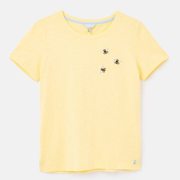 Joules Yellow Bee Carley Embroidered Classic Crew Neck Top
