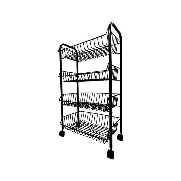 Delfinware Wireware Black  4 Tier Mobile Trolley