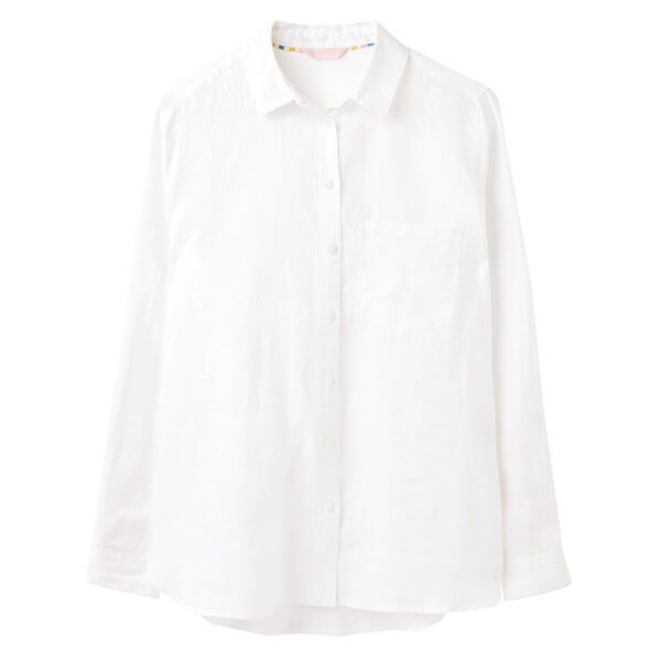 Joules Bright White Lorena Linen Longline Shirt