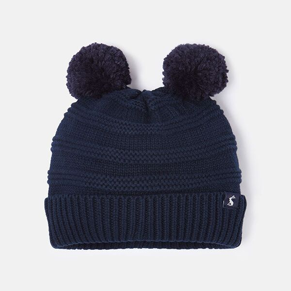 Joules French Navy Pom Pom Knitted Hat