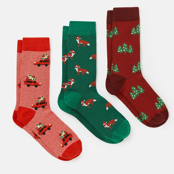 Joules Christmas 3 Pack Striking Socks Size 7-12