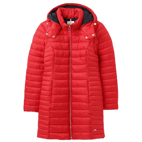 Joules Red Canterbury Long Luxe Puffer Jacket