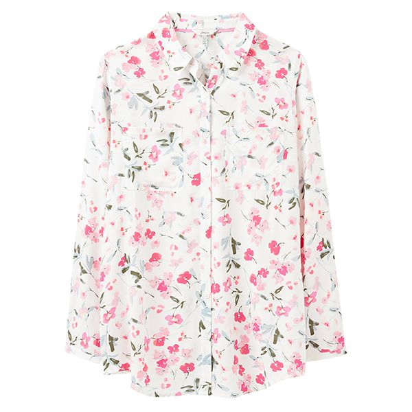 Joules Cream Floral Elvina Button Front Woven Top