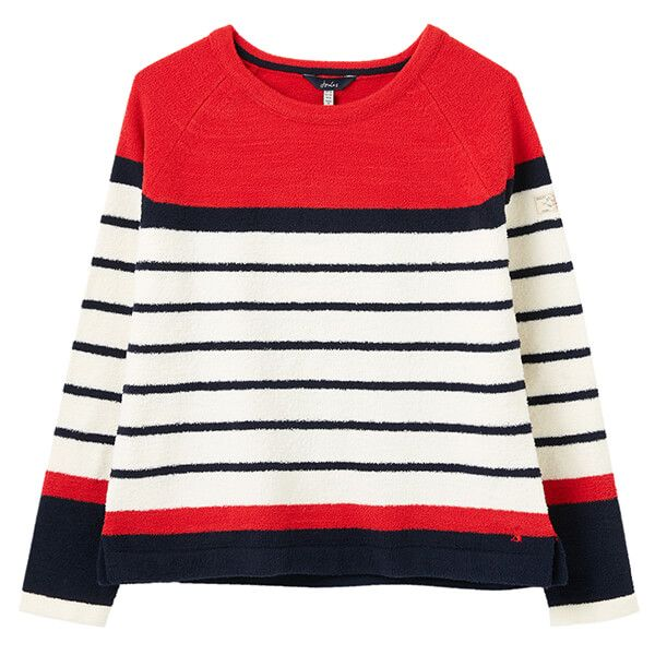 Joules Red Stripe Seaport Chenille Raglan Jumper