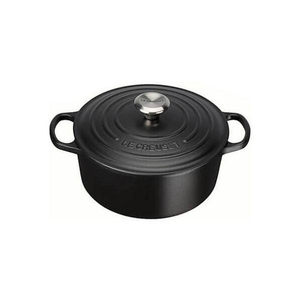 Le Creuset Signature Satin Black Cast Iron 22cm Round Casserole
