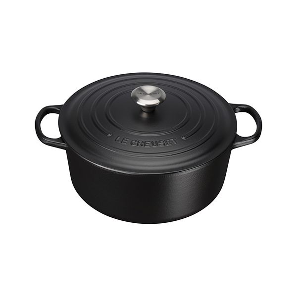 Le Creuset Signature Satin Black Cast Iron 28cm Round Casserole