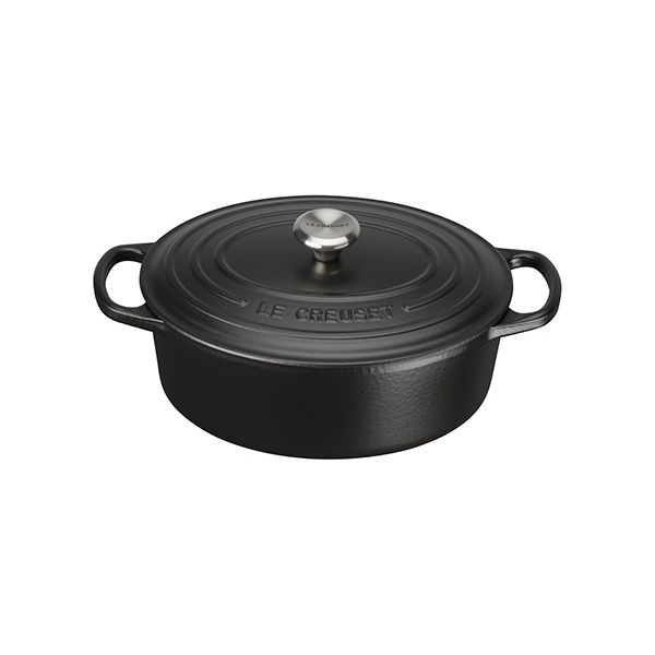 Le Creuset Signature Satin Black Cast Iron 25cm Oval Casserole