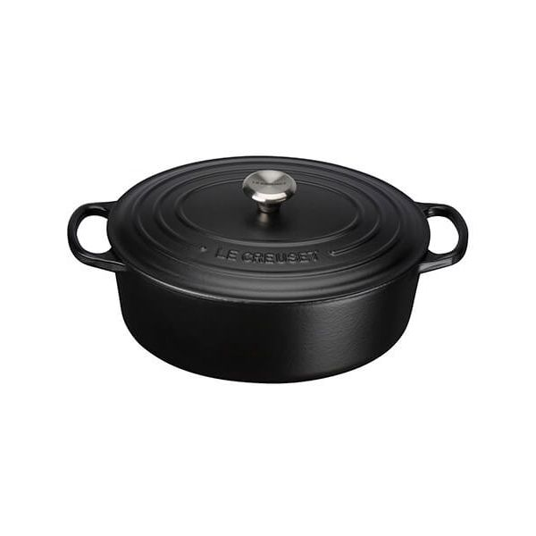 Le Creuset Signature Satin Black Cast Iron 27cm Oval Casserole