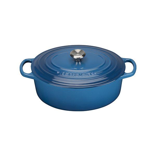 Le Creuset Signature Marseille Blue Cast Iron 27cm Oval Casserole