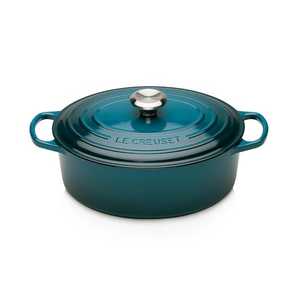 Le Creuset Signature Deep Teal Cast Iron 27cm Signature Oval Casserole