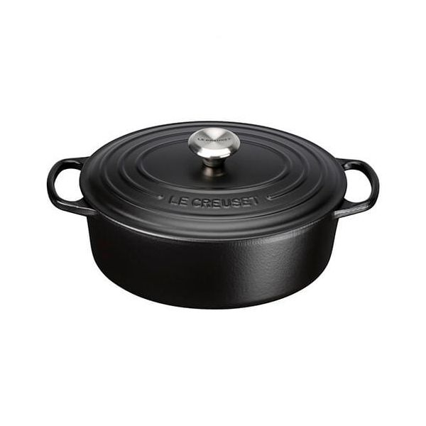 Le Creuset Signature Satin Black Cast Iron 29cm Oval Casserole