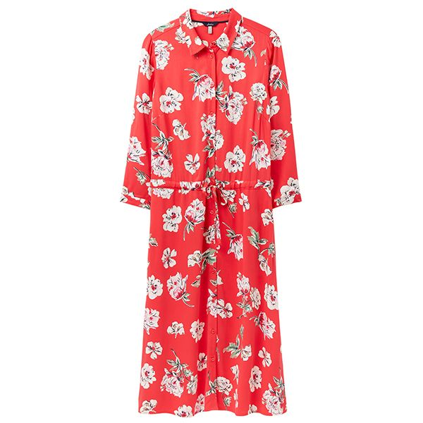 Joules Red Floral Winslet Long Sleeve Shirt Dress