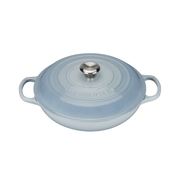 Le Creuset Signature Coastal Blue Cast Iron 30cm Shallow Casserole