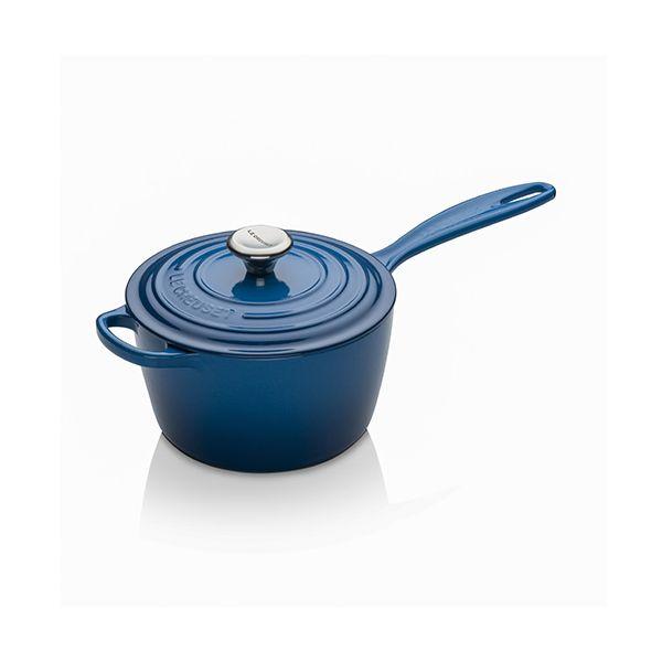 Le Creuset Signature Marseille Blue Cast Iron 18cm Saucepan