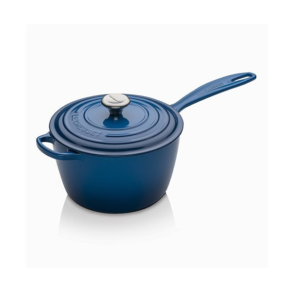 Le Creuset Signature Marseille Blue Cast Iron 20cm Saucepan