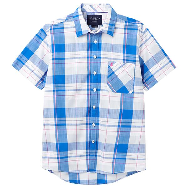 Joules White Check Wilson Short Sleeve Classic Fit Check Shirt