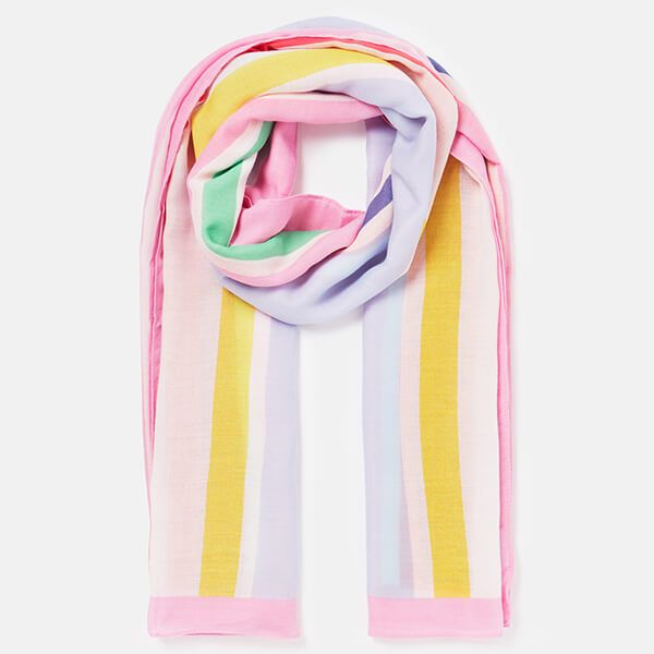 Joules Pink Stripe River Printed Scarf