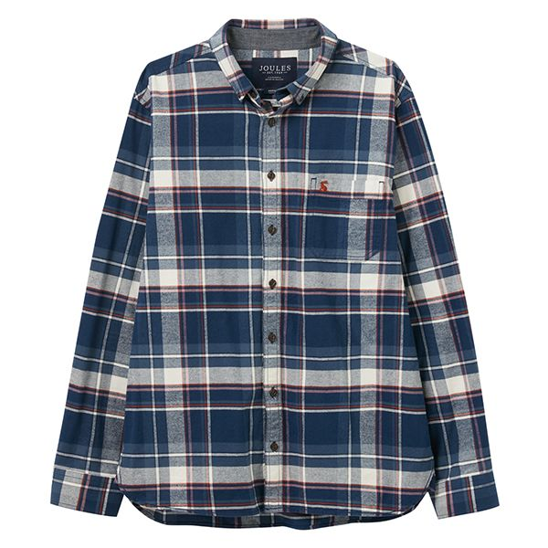 Joules Blue Orange Check Buchannan Classic Long Sleeve Classic Fit Shirt