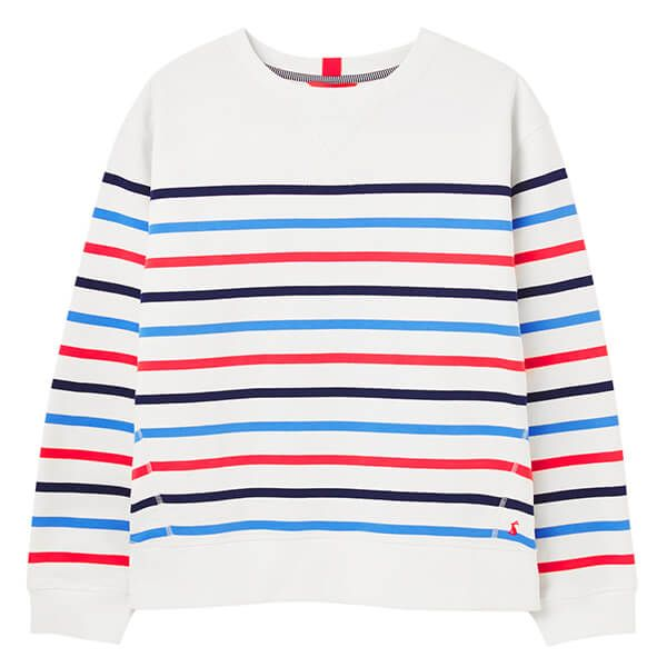 Joules Cream Multi Stripe Monique Crew Neck Sweatshirt