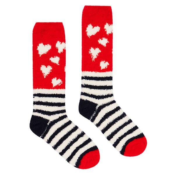 Joules Navy Heart Stripe Fabulous Fluffy Supersoft Socks