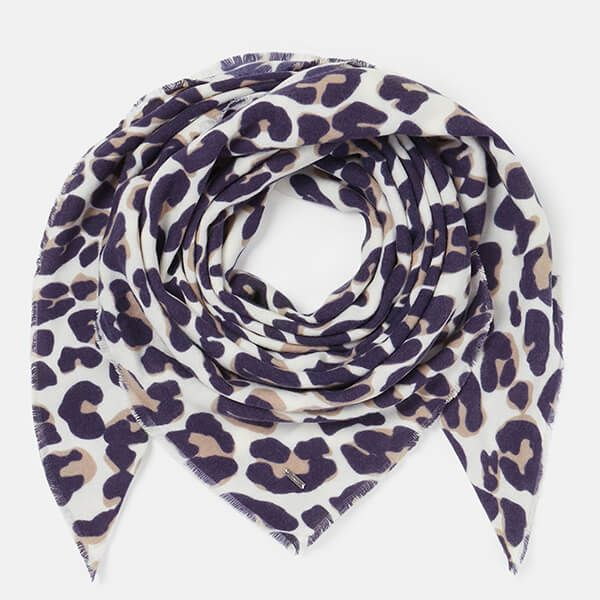 Joules Cream Maxi Leopard Willow Soft Handle Scarf