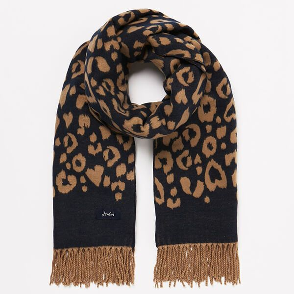 Joules Navy Leopard Elissa Jaquard Scarf