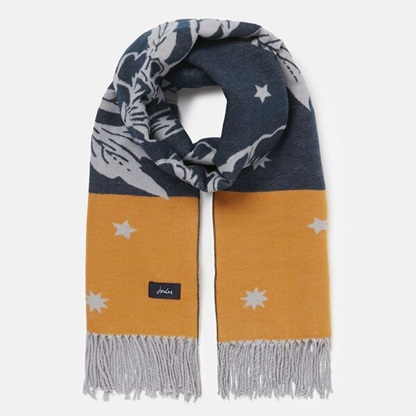 Joules Yellow Floral Elissa Jaquard Scarf